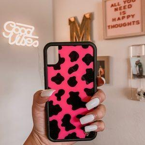 Wildflower Pink & Black Moo Moo iPhone XR Case💖🐄